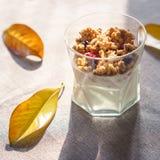 Grecki jogurt z granola, wysuszonymi jagodami w szkle i kolorów żółtych liśćmi, Szary tło z wieśniaka stylu płótnem Odgórnego wid obrazy stock