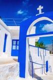 Grecki kościół z błękitem barwi na Kalymnos, Grecja Fotografia Royalty Free