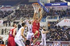 Grecki Koszykowy Ligowy gemowy Paok vs Olympiakos Obrazy Royalty Free