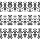 Grecki kwiecisty bezszwowy wzór - antyczny powtórkowy tło w czarny i biały ilustracja wektor