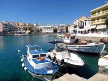 Grecki miasto Agios Nikolaos Zdjęcia Royalty Free