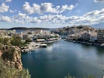 Grecki miasto przy jesienią Fotografia Royalty Free