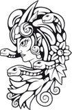 Grecki mitologiczny gorgona charakter, konturowa ilustracja Zdjęcie Royalty Free