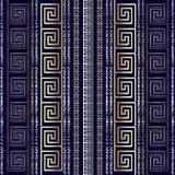 Grecki nowożytny 3d bezszwowy wzór Grunge paskujący Obrazy Stock