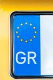 Grecki numerowy talerz Obrazy Stock
