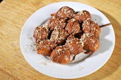 Grecki pączek z syropu i czekolady loukoumades Zdjęcie Stock