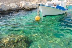 Grecki połowu motorboat unosi się na Kalymnos Obraz Royalty Free