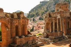 Grecki teatr Taormina Obrazy Royalty Free