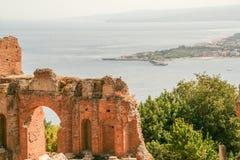 Grecki teatr Taormina Zdjęcie Stock