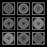 Grecki tradycyjny meander granicy set Wektorowa antyk ramy paczka Dekoracja elementu wzory w czarny i biały kolorach Etniczny col royalty ilustracja