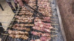 Grecki tradycyjny mięsny grill, souvlaki Zdjęcia Royalty Free