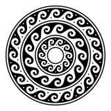 Grecki wektorowy mandala, Antyczna round meander sztuka w okręgu odizolowywającym na bielu ilustracji