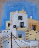 Grecki wyspy ` s architektoniczny szczegół starzy domy Obraz Royalty Free