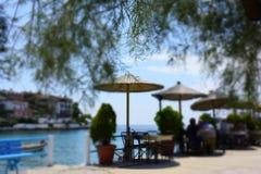 Greckie restauracje na wybrzeżu Fotografia Royalty Free