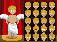 Greckiego bóstwa Eros kreskówki Kostiumowa emocja stawia czoło Wektorową ilustrację royalty ilustracja