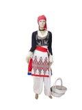 Greckiej cretan krajowej kobiety odzieżowy kostium na mannequin odizolowywa Zdjęcia Stock