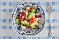 Greckiej sałatki pojedyncza porcja Obrazy Stock