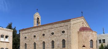 Greckokatolicka bazylika święty George w grodzkim Madaba, Jordania Obrazy Royalty Free