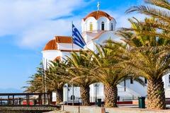 Greckokatolicki kościół w Paralia Katerini plaży, Grecja Obrazy Royalty Free