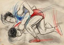 Greco-римский wrestling Полноразрядной il нарисованный рукой Стоковые Изображения