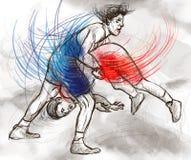 Greco-римский wrestling Полноразрядной il нарисованный рукой Стоковая Фотография
