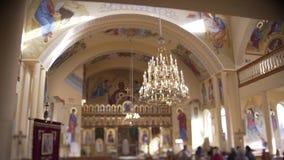 Greco Catholic Church. Divine service in the Greek church of the Catholic Church stock footage