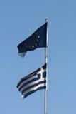 Greco e bandiere di UE insieme Fotografia Stock Libera da Diritti