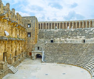 The Greco-Roman amphitheater in Aspendos Royalty Free Stock Photography
