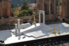 Greco-Roman amphitheater in Taormina Royalty Free Stock Photo