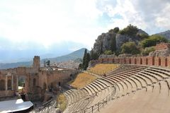 Greco-Roman amphitheater in Taormina Stock Images