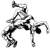 Greco-Roman wrestling. Wrestling action.All elements layered black line drained royalty free illustration