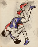 Greco-Roman Wrestling. An full sized hand drawn il Royalty Free Stock Photos