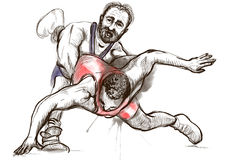 Greco-Roman Wrestling. An full sized hand drawn il Royalty Free Stock Photo