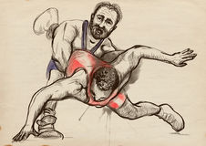 Greco-Roman Wrestling. An full sized hand drawn il Stock Photo