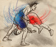 Greco-Roman Wrestling. An full sized hand drawn il. An hand drawn, full sized, illustration (original) from series Martial Arts: Greco-Roman Wrestling (is a stock illustration