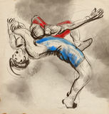 Greco-Roman Wrestling. An full sized hand drawn il. An hand drawn, full sized, illustration (original) from series Martial Arts: Greco-Roman Wrestling (is a royalty free illustration