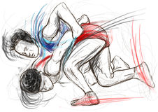 Greco-Roman Wrestling. An full sized hand drawn il Royalty Free Stock Photography