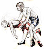 Greco roman wrestling Stock Images