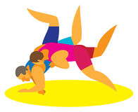 Greco-Roman wrestling holds opponents throw stock illustration