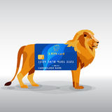 Gredit card hung on king lion Royalty Free Stock Images