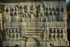 Gree bas reliefs. In marble at the hippodrome of Istanbul, Turkey seen in 2013 Royalty Free Stock Images