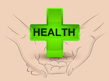 Gree health icon hold two human hands across vector Stock Images