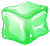 Gree ice cube on white Stock Image