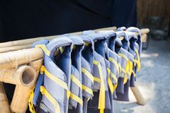 Gree lifejackets on the white beach. See my other works in portfolio royalty free stock photos
