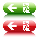 Gree and red glossy emergency exit sign. On white background Stock Photo