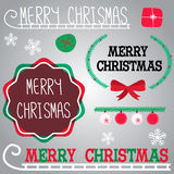 Gree red and white Merry Christmas labels. Merry Christmas labels in different style and snowflakes present and ornaments Royalty Free Stock Images