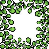 Cartoon green leaves vector frame royalty free illustration