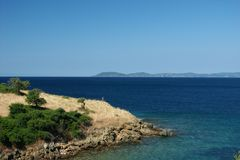 Greece. Sea with blue sky, horizontally framed shot stock image