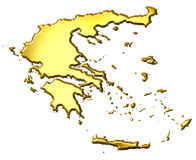 Greece 3d Golden Map Stock Images
