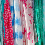 in  greece  accessory colorfull scarf and headscarf old market n Royalty Free Stock Photography